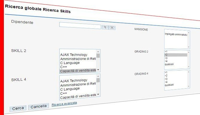 Valutazione competenze - ricerca skill