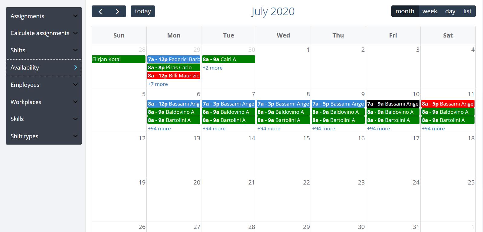 Calendario gestione turni di lavoro